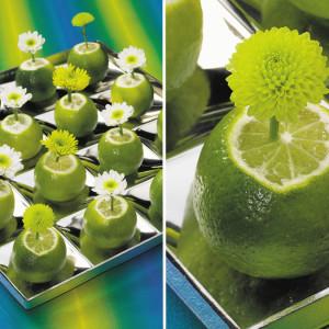 Segnaposto floreali green flash fatti con lime